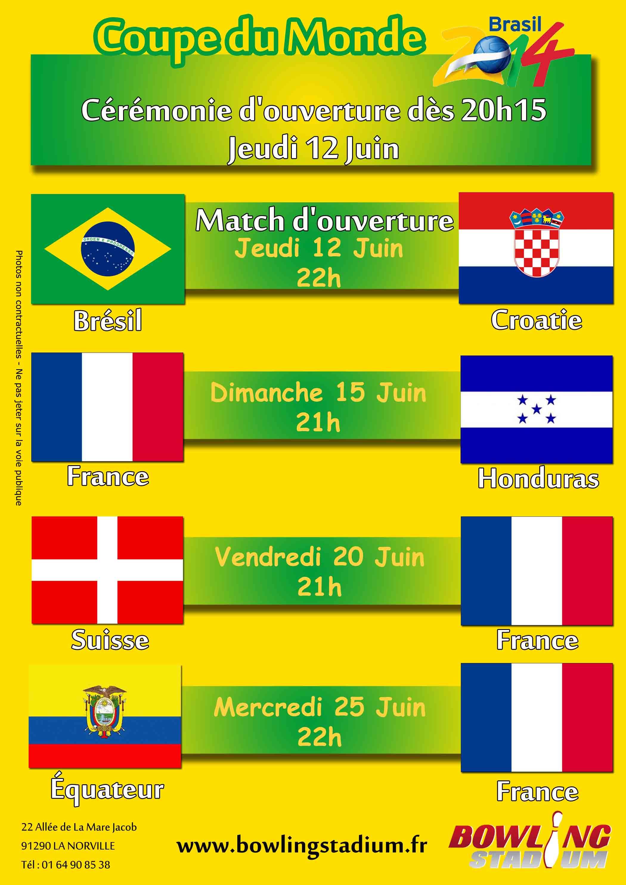 Coupe du monde 2014 diffusion des matchs bowling arpajon - Match d ouverture coupe du monde 2014 ...